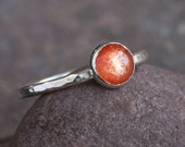 Plumeria Ring - Handmade Brilliant Sunstone and Sterling Silver Ring Stacking