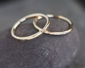 IN STOCK Lina - Handmade Solid 14k Yellow Gold Wedding Band Wedding Ring Hammered Textured Upto Size 12
