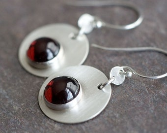 Bubbles - Garnet and Brushed Sterling Silver Earrings