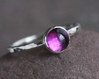 Plumeria - Purple Amethyst and Sterling Silver Ring Size 7.5 Stacking Handmade Hammered Textured Stack