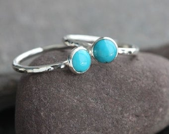 Plumeria - Sleep Beauty Turquoise and Sterling Silver Ring