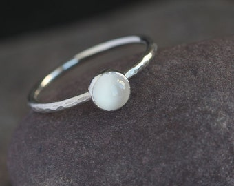 Plumeria - White Moonstone and Sterling Silver Ring || Moonstone Stack Ring