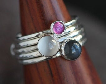 SPECIAL Handmade Sterling Silver Stack Rings with Black Moonstone Pink Tourmaline and White Moonstone