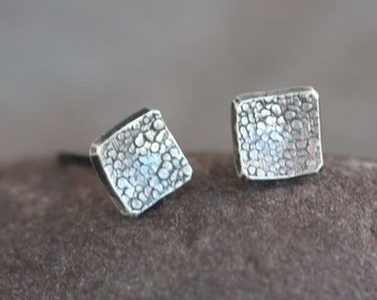 IN STOCK Square - Handmade Sterling Silver Textured Square Post Earrings Oxidized