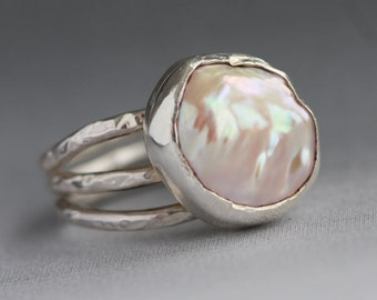 Handmade Free Form Pearl Nugget Sterling Silver Ring Textured Hammered Organic Design