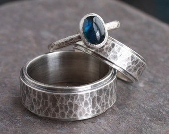 Custom Handmade Wedding Band Set | Sterling Silver | Alternative Engagement Set | Unique Engagement Ring | Oxidized Hammered