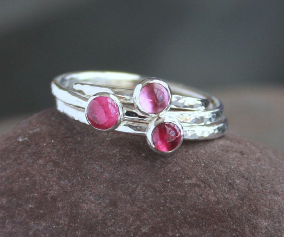 Pink Tourmaline and Sterling Silver Ring | Pink Tourmaline Stacking Ring | Tickle Me Pink