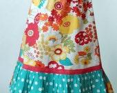 Easter Spring 2012 White City Blossoms Girl's A-Line Ruffle Twirl Skirt Size Medium 7 8 9 from ShereesAtelier Boutique Custom
