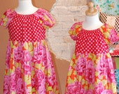Pink and Red Floral and Dots ava Peasant Dress - girls kids fall winter fashion clothing - custom size 2T 3T 4 5 6