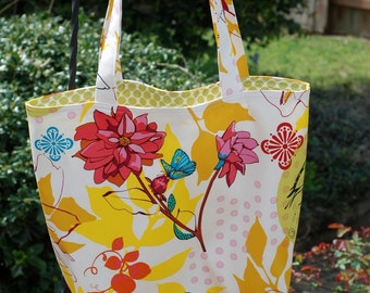 Sheree's Atelier Yellow Bird in the Garden Cotton Shopping Diaper Shoulder Tote Bag