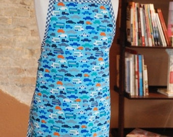 Retro Modern Cars Transit Organic Cotton Fabric Childs Boys Children's Full Apron...handmade...ready to ship...for the little chef