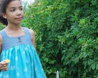 Emma Dress....Blue Japanese Cotton Fabrics...School Girl....Custom Size 12m-7/8