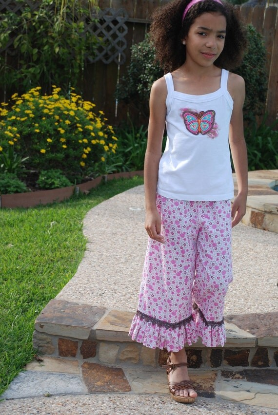 Sheree's Atelier Sweet Harmony Blossoms Organic Cotton Ruffle Pant....Girl's Custom Size 2-10...Eco Friendly Kids