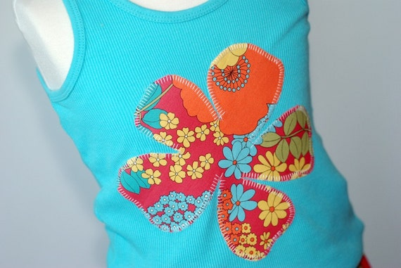 City Blossoms Girl's Medium 7 8 TWEEN Applique Tank....ShereeAtelier New Boutique Custom