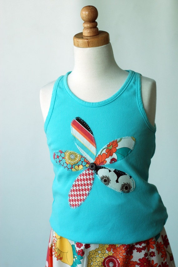 City Scrappy Blossoms Girl's Medium 7 8 TWEEN Applique Tank....ShereeAtelier New Boutique Custom