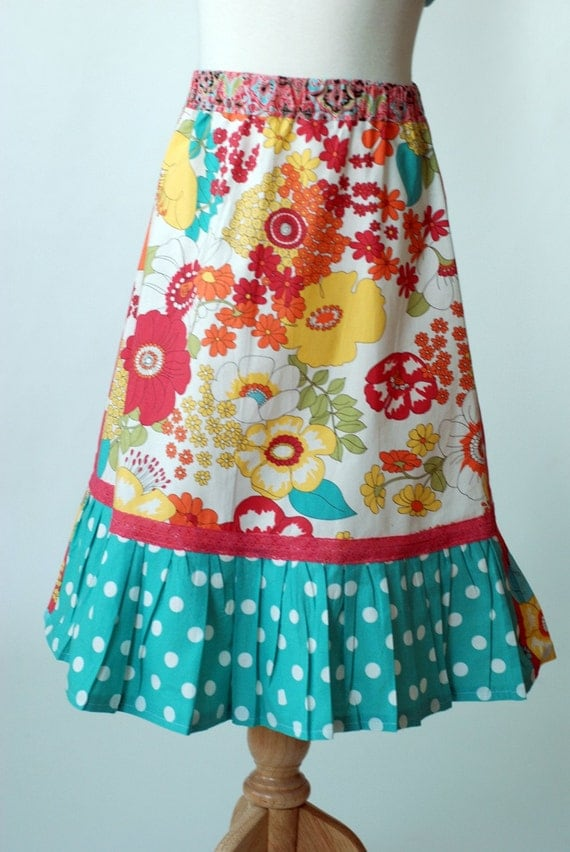 Easter Spring 2012 White City Blossoms Girl's A-Line Ruffle Twirl Skirt Size Medium 7 8 9 from ShereesAtelier Boutique Custom