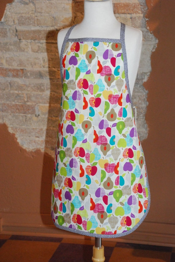 Organic Cotton Fruits and Dots Full Apron for Children Girls