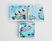 CARNIVAL 3 Original Encaustic Photo Paintings Turquoise Blue Red Vintage Style Children