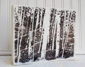 LOVE in the Forest Encaustic Painting Wedding White Birch Trees