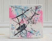 Pink Counds Blue Sky Original Mini Painting Pink Blue Bird
