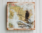 Gentle SNOW Fall Over Wyoming Mixed Media Encaustic Vintage Map Painting