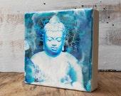 Buddha Painting Yoga Meditation Art Blue Spiritual Zen