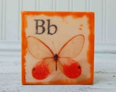 B is for BUTTERFLY Original  Mixed Media Mini Painting Nursery Art