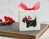 Scottie DOG Tiny Painting Dog Painting  Mini  Black Dog Art Scottish Terrier Dog Lover Holiday Gift Ornament