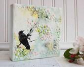 Hide and Seek Original Encaustic Painting Mint Green Pink
