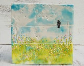 Country Fence  Original Encaustic Painting