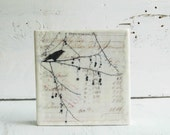 Counting CROW Original Encaustic Mixed Media Painting