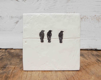 GIRLFRIENDS - Original Encaustic Mini Painting Best Friends Black & White Bird Art
