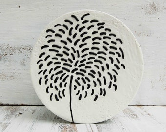 BLACK Dahlia Original Encaustic Round Wood Painting Black & White Dandelion Wish Modern