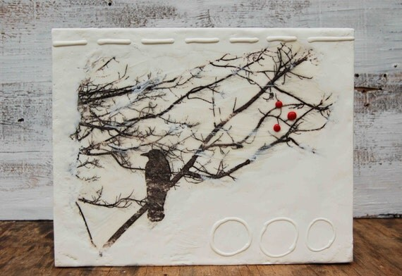 Three RED Berries - Original Encaustic Mixed MediaPainting
