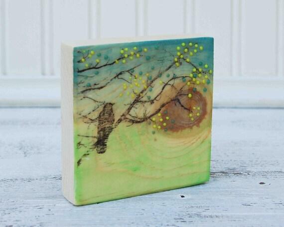 Blackbird GREEN Day  Original Encaustic Mini Painting