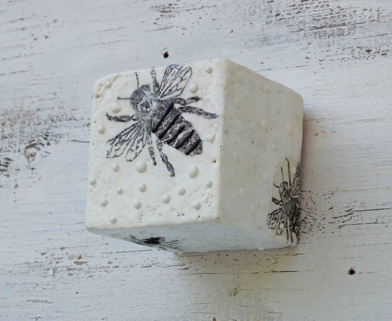 Bumble BEE Art Block Encaustic Painting Black and White