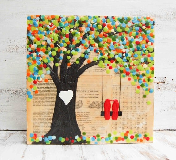 "CUSTOMIZABLE Original Encaustic Mixed Media Painting Wedding Gift Kissing Lovebirds 14"" x 14"""