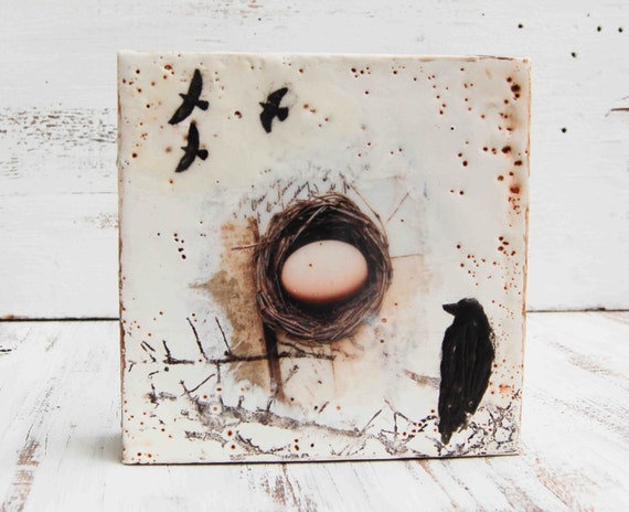 Leaving the NEST Original Encaustic Mixed Media  Photo Painting