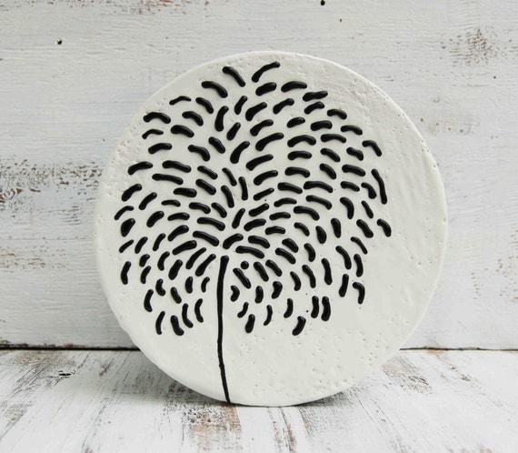 BLACK Dahlia Original Encaustic Round Wood Painting Black & White Dandelion Wish Modern
