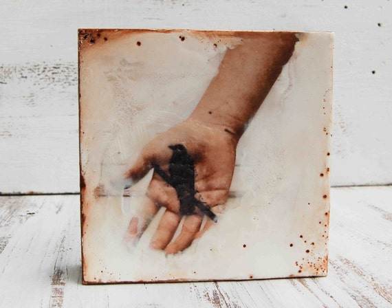 BIRD in the Hand Original Encaustic Mixed Media  Photo Painting
