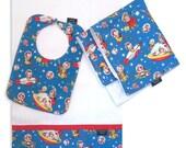 Rocket Rascals Bib, Burp Cloth and Cuddle Blanket Set