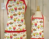 Ice Cream Social Mommy and Me (kid size) Apron Set - Reversible