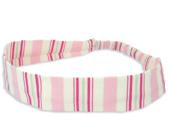 "Fabric Headband - Rose Stripe - Pick your size - fit toddlers to adults - 1-1/2"" wide"