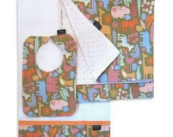 Zoo Safari Receiving Blanket set with Matching Bib and Burp Cloth