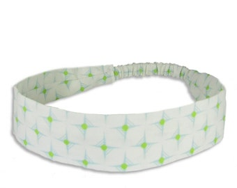 """Fabric Headband - Lime Hop Dot- Pick your size - fit toddlers to adults - 1-1/2"""" wide"""