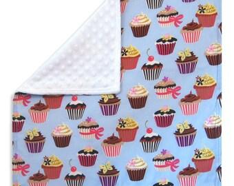 Cupcake Cuddle Blanket with Minkee (Minky) - lovey blanket, doll blanket