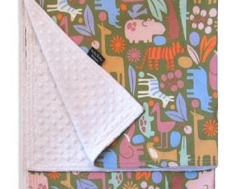 Zoo Safari Receiving Blanket - Minkee fabric paired with designer cotton print