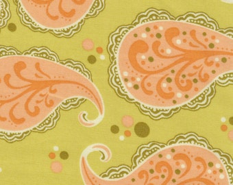 Sandi Henderson Farmers Market Peach Paisley Fabric 1 yard off of bolt - more available - quilt cotton