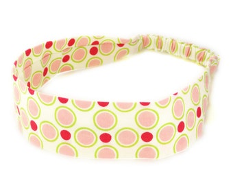 "Fabric Headband - Meadowsweet Dot - Pick your size - fit toddlers to adults - 1-1/2"" wide"