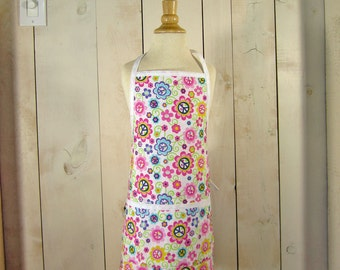 Peace Daisy Young Adult Full Apron - Reversible Apron by Lucky Ducky Designs